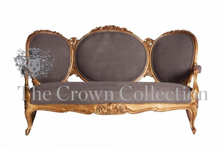 Gilded Queen Anne Victorian Style Sofa
