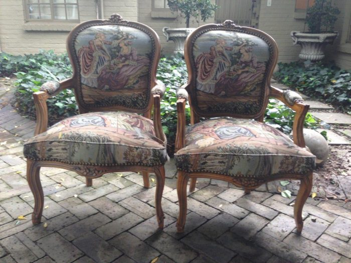 Pair Antique Tapestry Armchairs