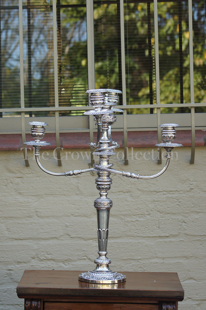Georgian Sheffield silver candelabra with matching arms circa 1809