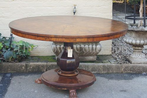 William IV Flame Mahogany Quarter Veneered Circular Centre Table circa 1835