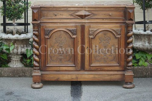 French Walnut Maple Twist Sideboard with Marble Top circa 1870