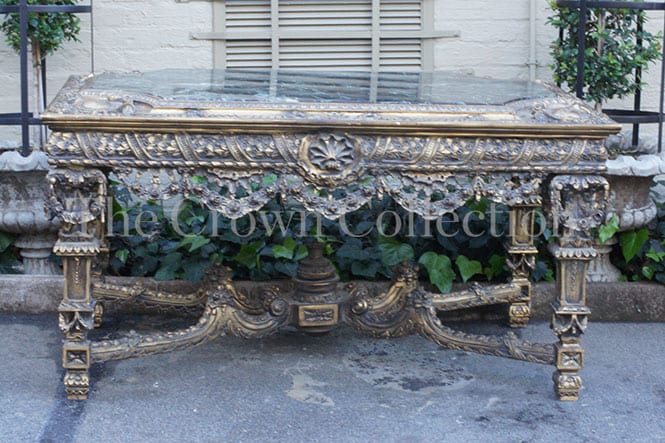 20th Century Italian Gilt-wood Centre Table with Marble Top