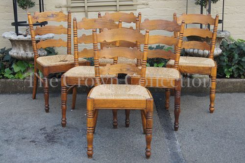 Set of 6 Fruitwood Ladderback Side Chairs