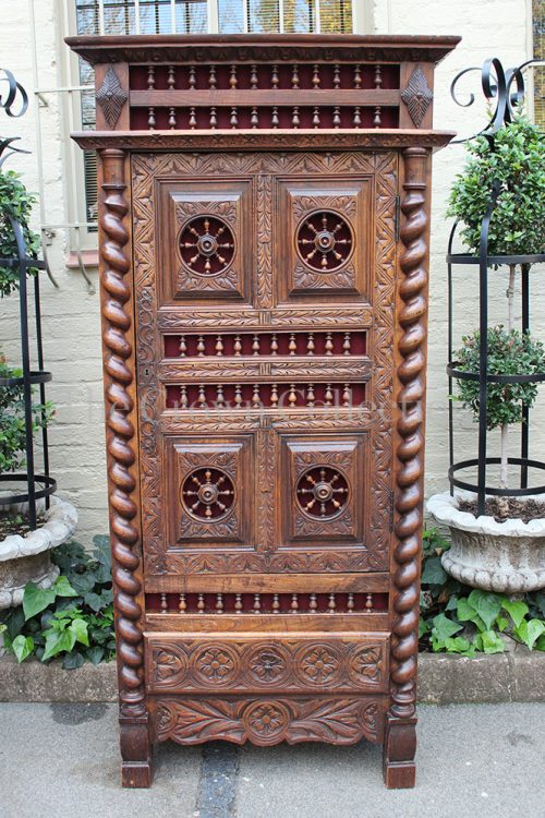 Antique Ornately Carved Single Door Cabinet