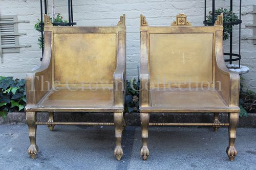 Pair Gilt Throne / King Chairs