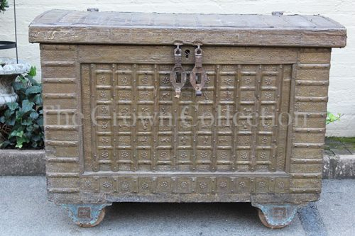 Metal Covered Chest on Wheels
