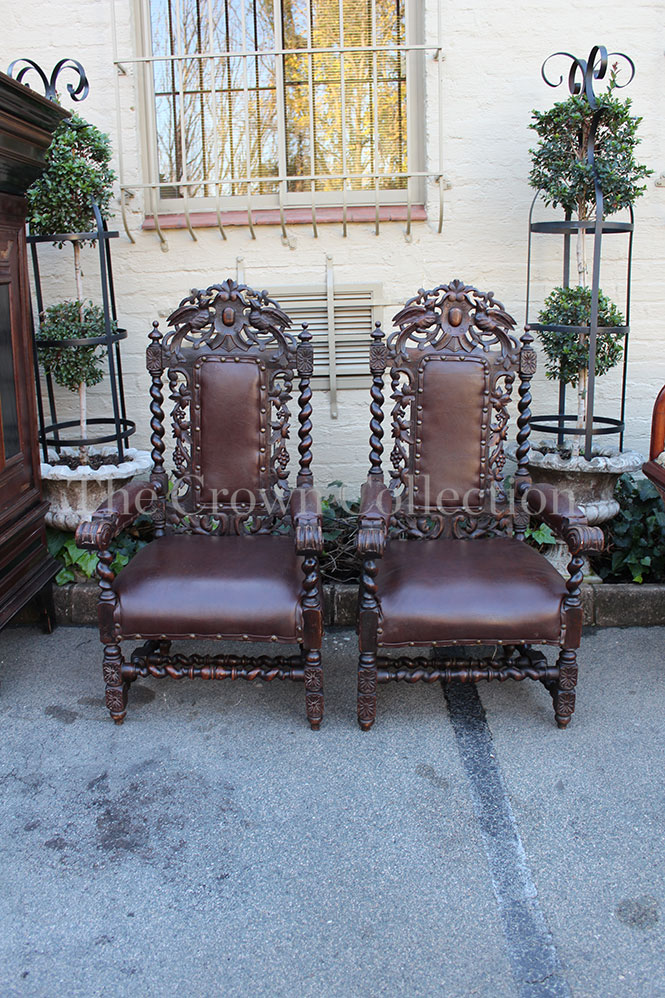 Pair of Victorian Jacobean Style Throne / King Arm Chairs