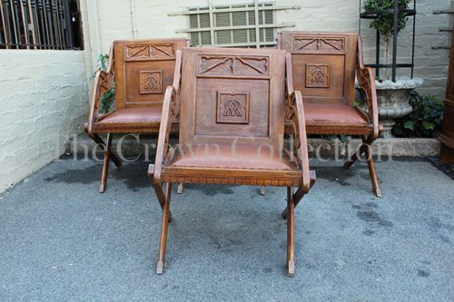 Set of 3 Colonial Carved Teak Chairs