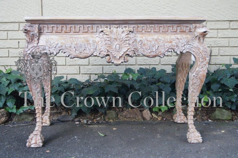 Carved Bleached Console Table
