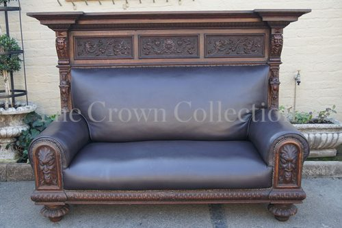 Antique Brown Leather Settee