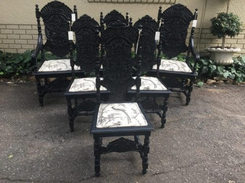 Set of 6 19th Century Dutch Oak Ebonised Carved Dining Chairs - ND