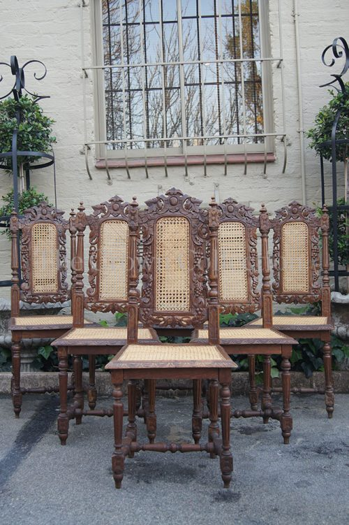 Set of 6 19th Century Carved Oak Dining Chairs with Rattan