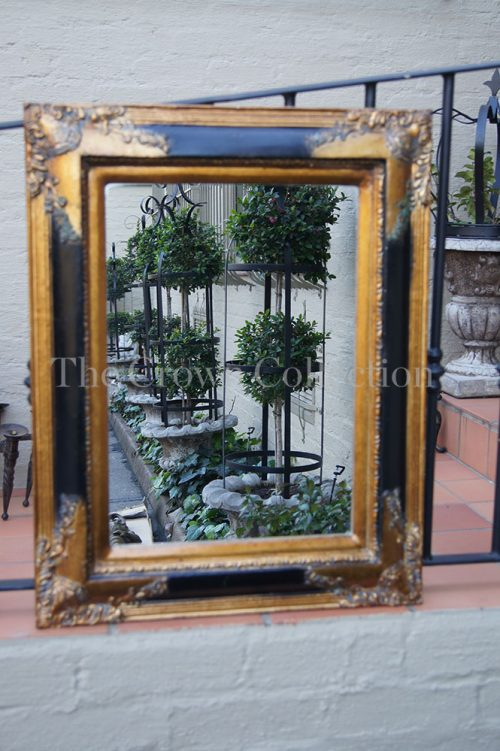Vintage Gilded Mirror with Black