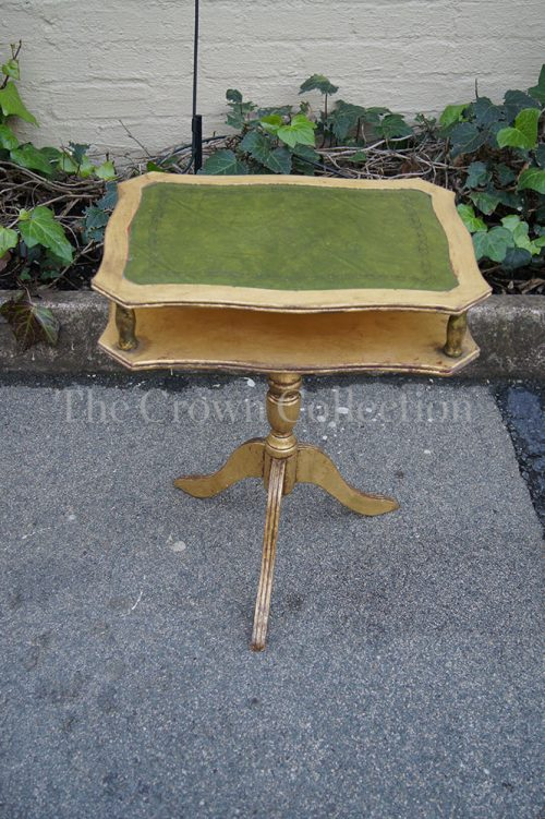 Gilt Teapoy with Green Leather Top