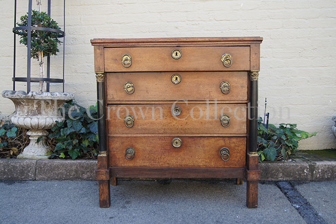 Early 19th Century Oak Empire Commode Chest with Ebonised Columns & Brass Mounts