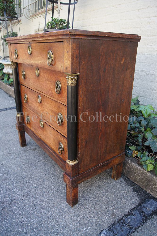 Early 19th Century Oak Empire Commode Chest With Ebonised