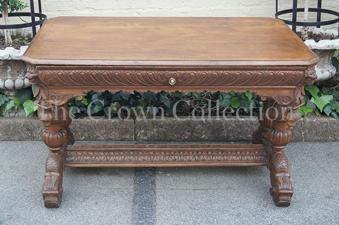 19th Century Flemish Oak Library Table