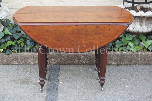 19th Century Mahogany Drop Leaf Round Table