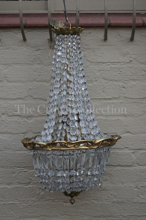 Brass & Lustre Crystal Chandelier