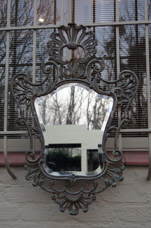 Vintage Gilt Brass Rococo Style Mirror