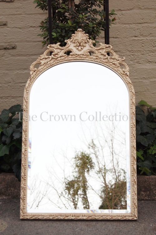 Vintage Cream Carved Mirror & Table Sconce