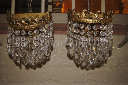 Pair Vintage Basket Style Wall Sconces