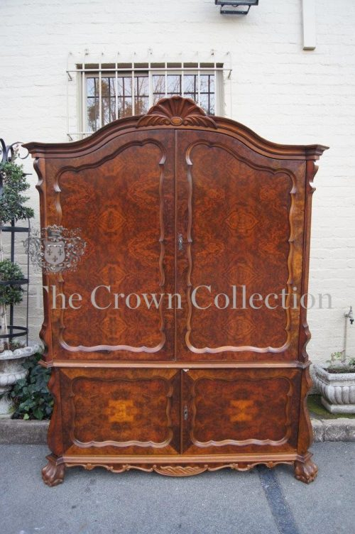 Dutch Style Burr Walnut Veneer Armoire