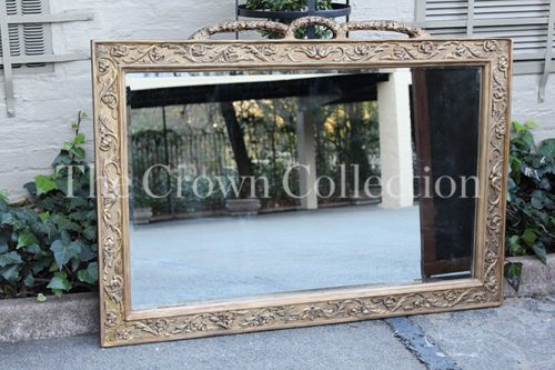 Rectangular Gilded Mirror with Handle Detail