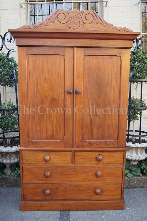 19th Century English Mahogany Linen Press