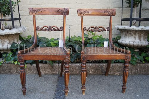 Pair Antique Carved Regency Chairs