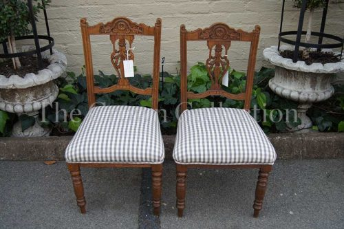 Pair Edwardian Oak Carved Hall Chairs