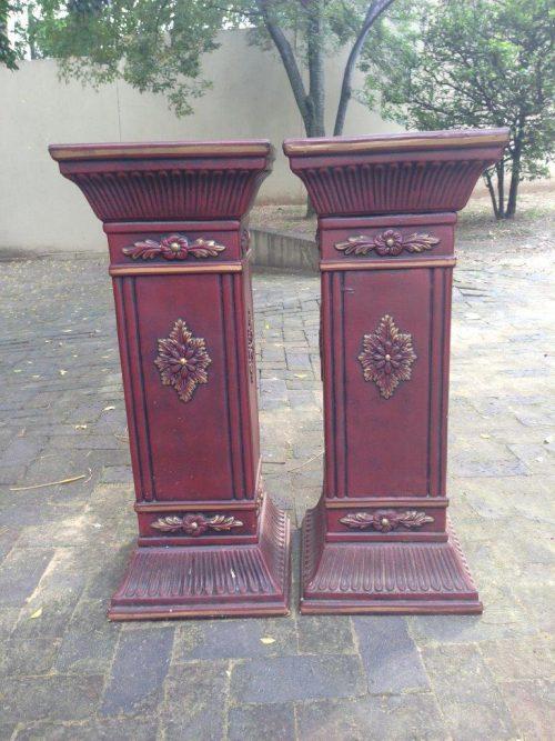 Pair Gilded Ceramic Plinths