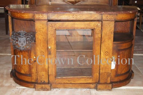 Victorian Marble Topped Walnut Marquetry Inlaid Cabinet