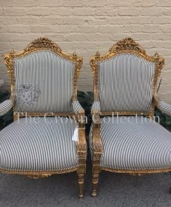 Pair of French Styled Gilt Arm Chairs