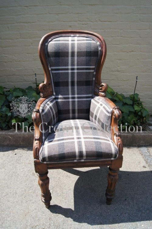 Georgian Chair Brand new Upholstery - Imported Charcoal Linen
