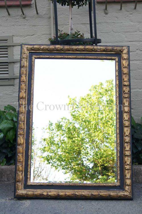 Black & Gilt Framed Bevelled Mirror