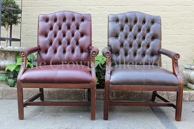 Pair Leather Gainsborough Arm Chairs (not identical)