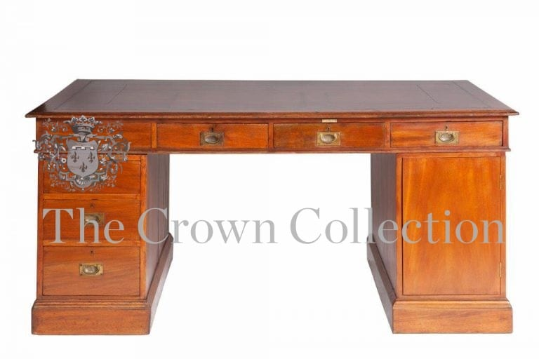 19th Century Mahogany Campaign Partners Desk with Hand Tool Leather Top