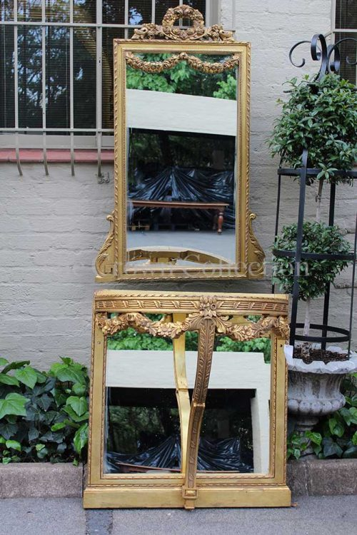 Vintage 20th-century Italian Louis XVI Style Giltwood Carved Pier GALALA HONED Pencil Arris Edged Marble-top Table & Mirror Set