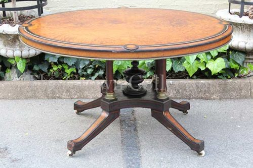 Burr Walnut Oval Loo Table inlaid with Ebony & Brass Detail