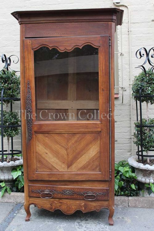 French 18th Century Walnut Inlaid Bonnetiere Armoire