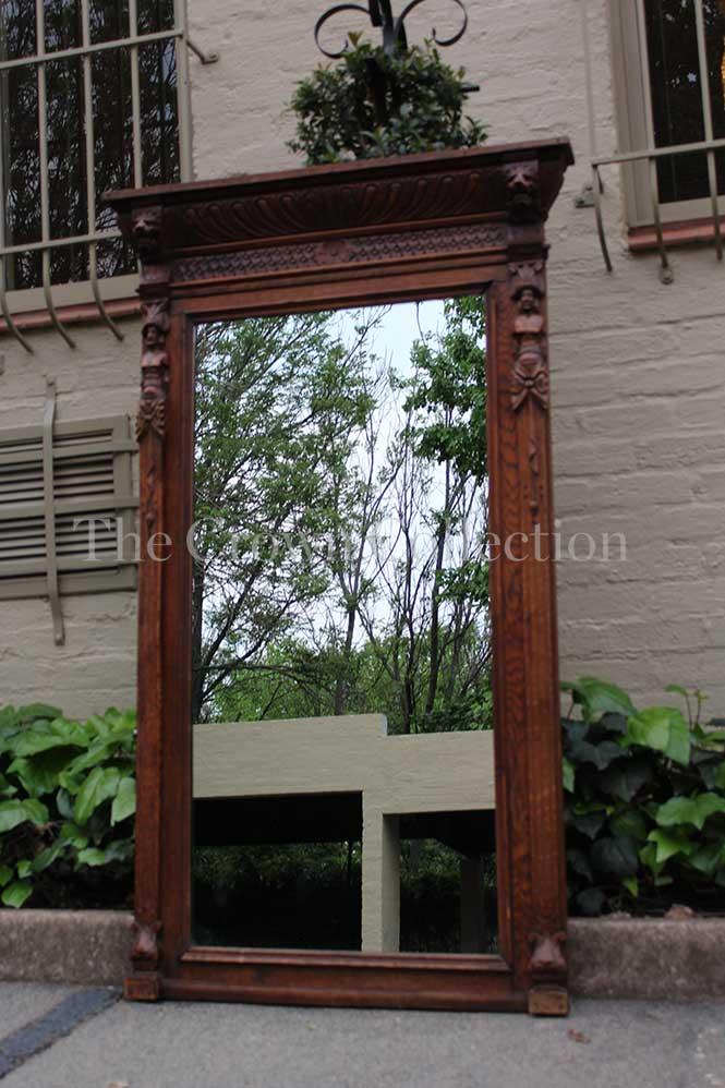 Belgium Carved Oak Mirror Circa 1880