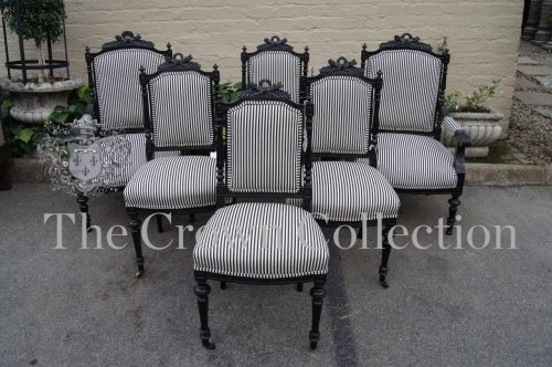 Set of 6 Late 19th Century Ebonised Chairs (2 Carvers)