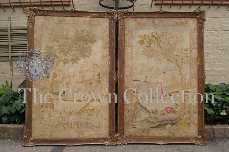 Pair Tapestries in Ornate Frame