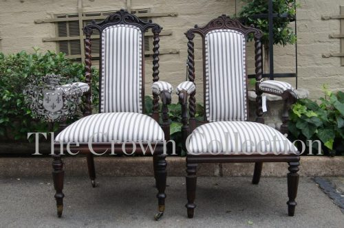 Pair Victorian Gothic Revival Library Chairs circa 1870