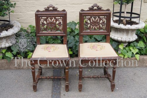 Pair 19th Jacobean Oak Side Chairs Belgium circa 1890