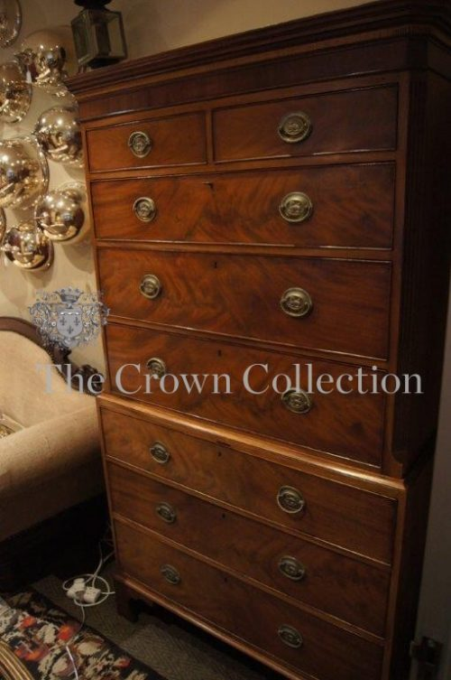 George III Flame Mahogany Chest on Chest ND