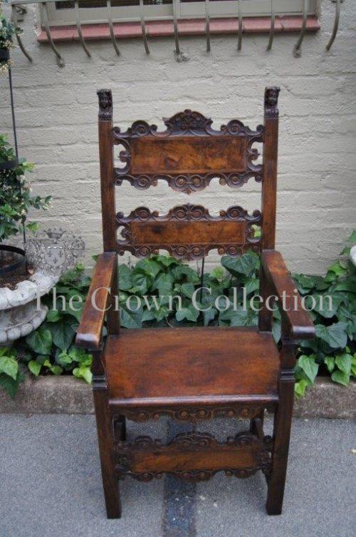 Italian Renaissance style walnut and oak armchair