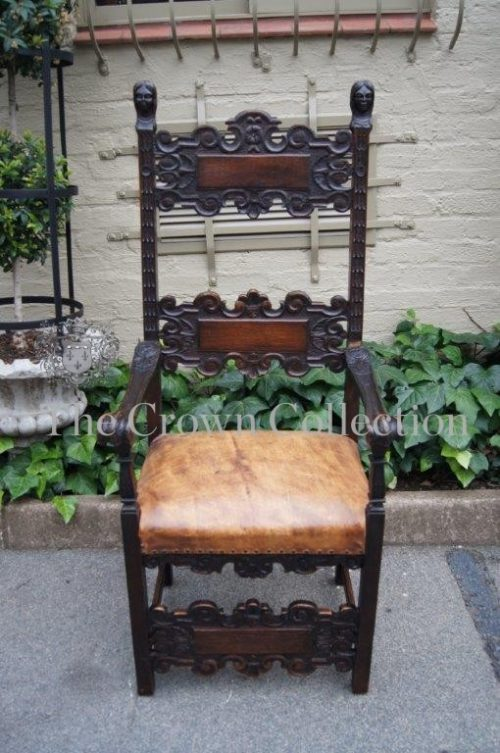 18th/19th-century Italian Renaissance Style Walnut and Oak Throne / King Armchair