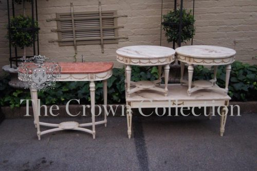 Set of 4 French Style Marble Top Tables and 2 Side Tables